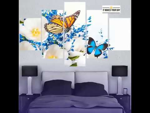 Framed 5 Piece Modern Abstract Butterfly Canvas Wall Art Sets