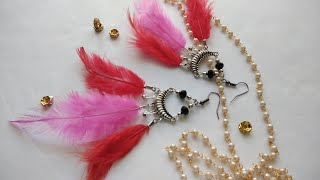 Diy- Feathers earrings with beads|| Silver hanging earring with feathers|latest earring|| CC 131