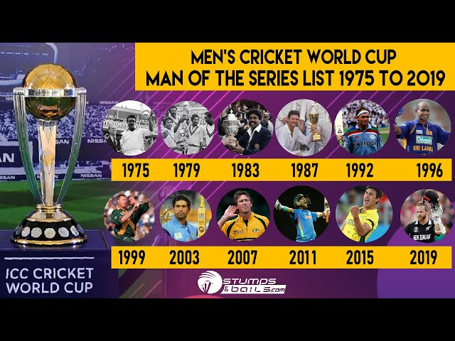 Men's Cricket World Cup Man Of The Series List From 1975 to 2019 - ICC Cricket World Cup | CWC