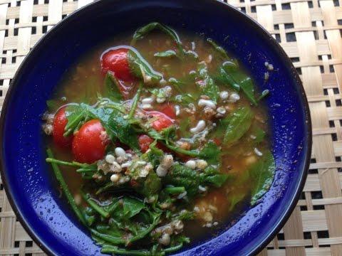 แกงผักหวานไข่มดแดง สูตรอาหารเหนือ  Star gooseberry with ant eggs curry