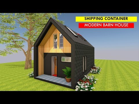 Barn Style House Plans of 2 Bedroom Shipping Container Tiny House Design + Attic Space- BARNHAUS 320