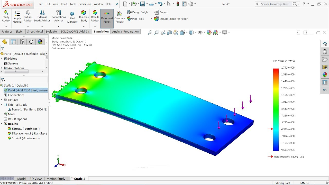 Solidworks Simulation tutorial | Static Simulation Study