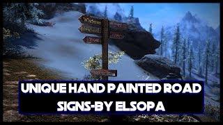 Unique Hand Painted Road Signs, A Skyrim Mod Showcase!