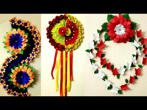 Diy 3 paper flower wall hanging / amazing paper flower wall decorations