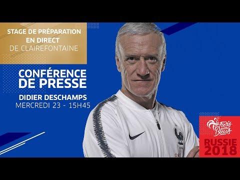 Mercredi 23, Équipe de France : conférence de presse de Didier Deschamps en direct (15h45)
