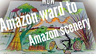 #how to draw a ward scenery#Amazon ward scenery#Amazon jungle scenery #beautiful ward scenery#