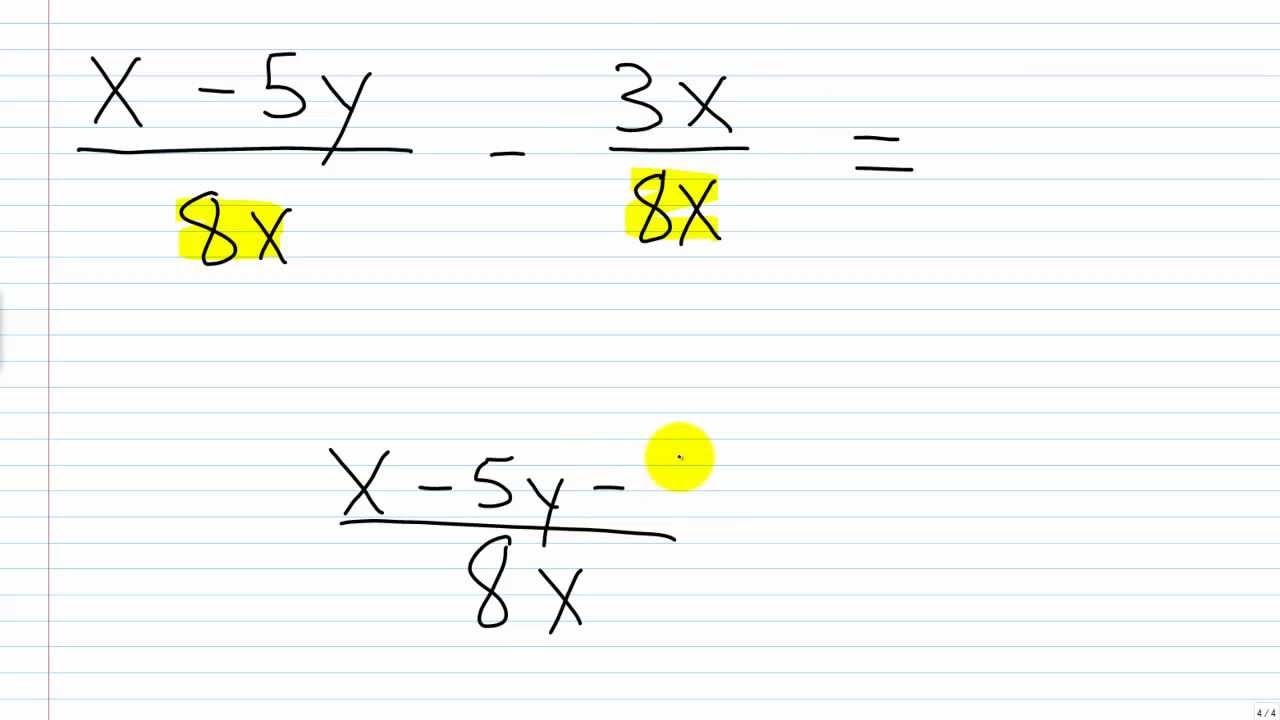 Algebra I Help: Adding/Subtracting Rational Expressions w