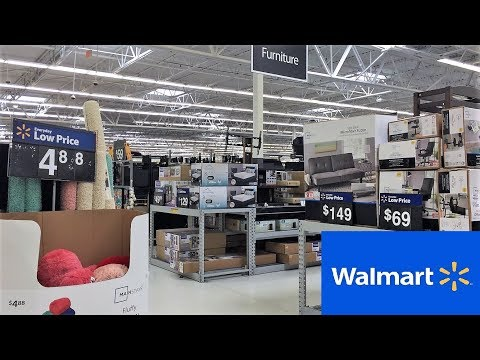 WALMART FURNITURE SOFAS FUTONS CHAIRS TABLES - SHOP WITH ME SHOPPING STORE WALK THROUGH 4K