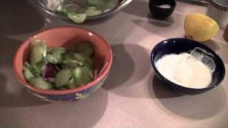 Peter Making Hungarian Style Cucumber Salad.