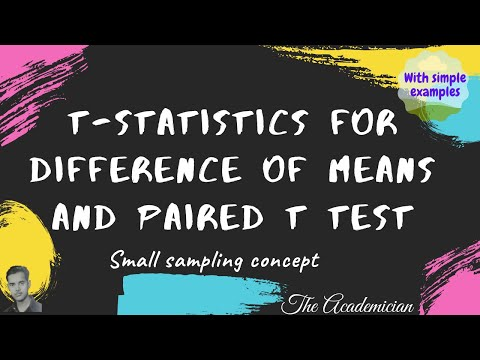 t statistics for difference of means and paired t test