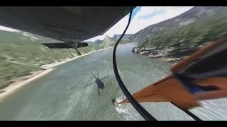 360 video: Helicopter pilots practice fighting fires