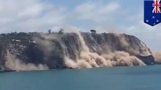 Скалы обрушились в море в результате землетрясения в Новой Зеландии