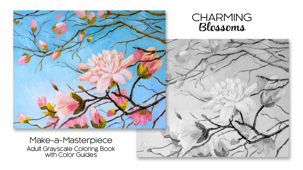 Charming Blossoms Adult Grayscale Coloring Book With Color Guides