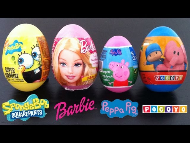 Surprise eggs Pocoyo, Spongebob, Barbie, Peppa pig, Kinder surprise egg Unboxing gift Candies Travel Video