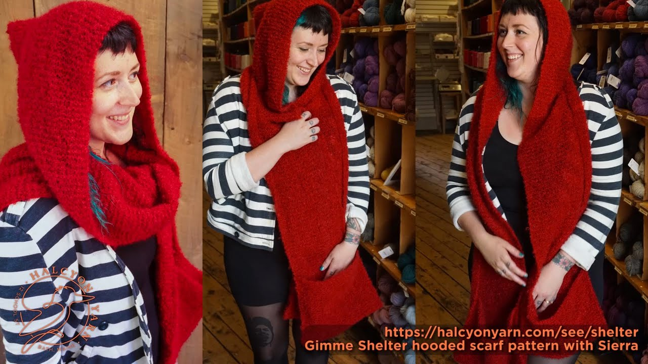 Gimme Shelter knitting pattern - hooded scarf with pockets - YouTube