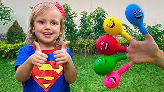 Nastya Bermain Mengisi Air Dalam Balon Daddy Finger Nursery Rhymes | Learn Colors With Balloons