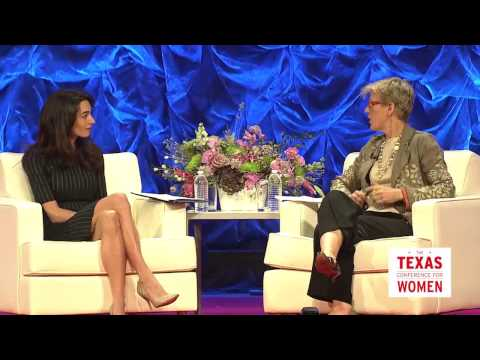 Amal Clooney and Carroll Bogert at the 2016 Texas Conference for Women