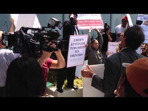 UBER DRIVERS PROTEST SANTA MONICA LOS ANGELES CALIFORNIA 2014