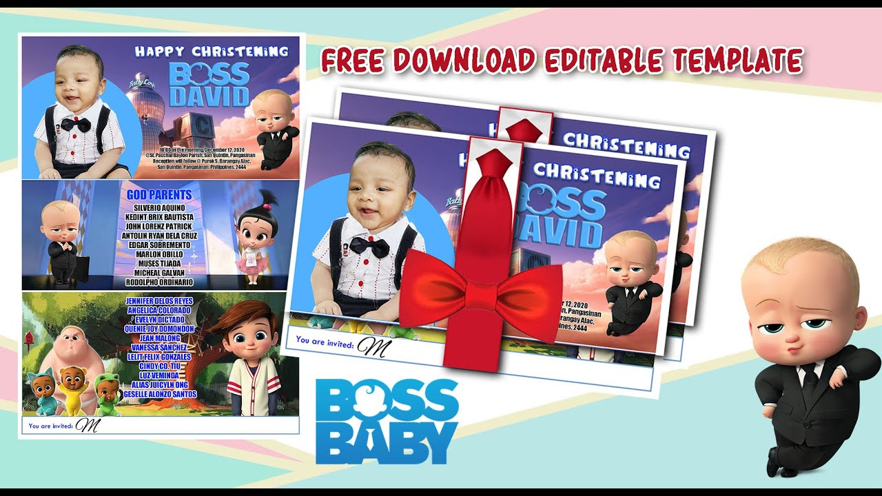 boss baby invitation template free psd file download