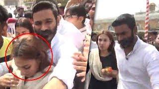Hero Dhanush Irritated By Fans At Thirumala   Dhanush With His Family   TFPC