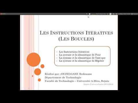 Cours 06 - Instructions Itératives   Pour   Tantque et Répéter