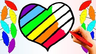 How to Draw Rainbow Heart. Learn Colors and Coloring for Kids with Colored Markers