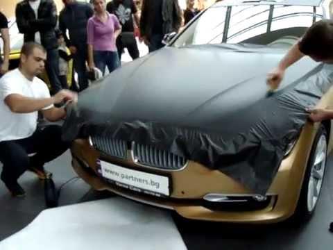Облепяне на BWM M3 с фолио черен мат и драскана стомана на Гранд тунинг шоу 2013
