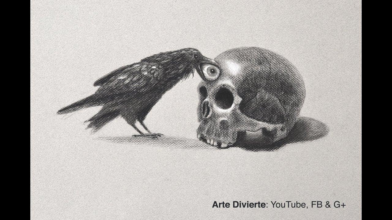 Cómo dibujar un cráneo y un cuervo - Especial día de muertos ...