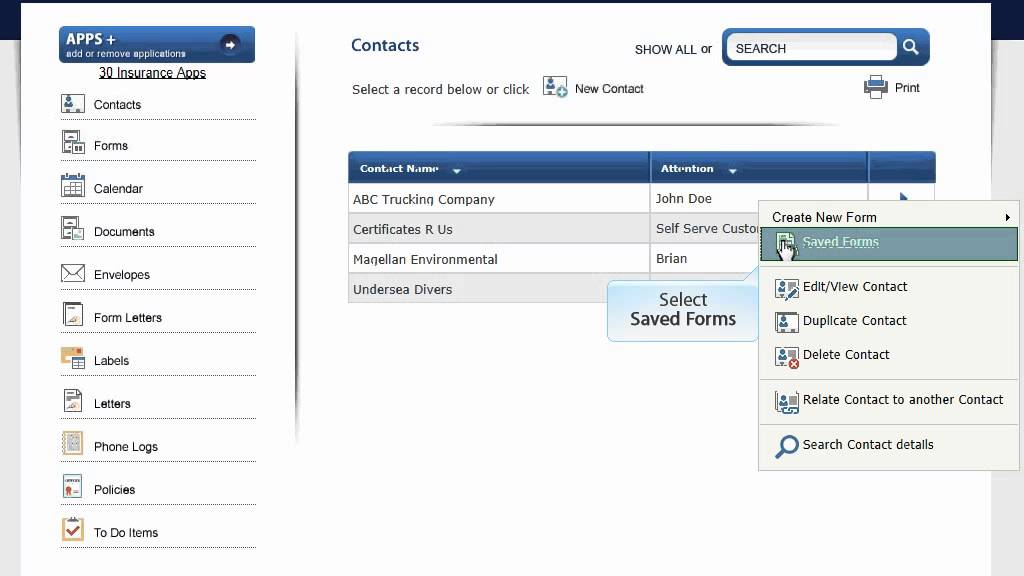 Acord Forms  How To Move Forms Between Contacts  Choices Software