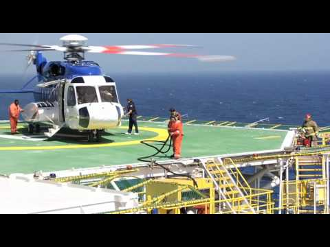 Chopper S92 on and off Oil Rig Gulf of Mexico USA