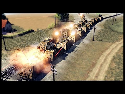 Super Heavy Armored Gun Trains - German Railroad Assault | Men Of War Assault Squad 2 Mod Gameplay