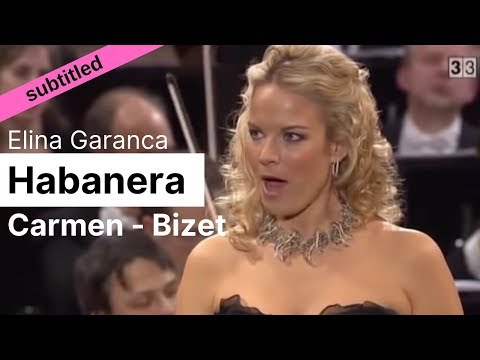 Opera Lyrics - Elina Garanca ♪ Habanera (Carmen, Bizet) ♪ English \u0026 French