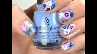 Nail Tutorial: Blue and Coral Floral Design (inspired by Rifle Co.)