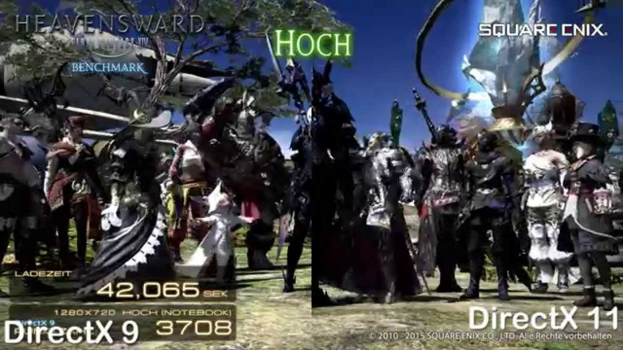 FF14 Heavensward Benchmark- DirectX 9 vs 11 Standard Settings ♥ Lost in  Games Final Fantasy XIV