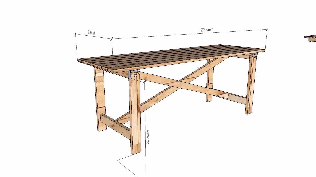 Mesa De Madeira Com Pernas Desdobraveis Wooden Table With Folding Legs