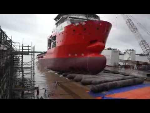 92M DP2 Anchor Handling Tug Supply Vessel Launching