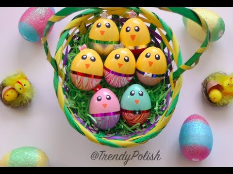 Chick Easter Eggs Video DIY Water Marble Chick Easter Eggs (Using Nail Polish!)