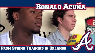 Ronald Acuña meets with the media on Saturday morning
