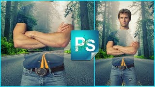"""Эффект прозрачной одежды в Фотошоп. Маскируемся в лесу, """"сливаемся"""" с природой"""
