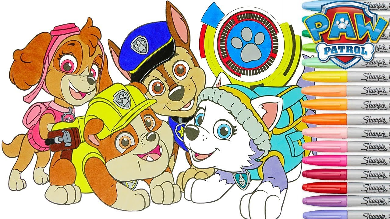 Coloring Paw Patrol Giant Coloring Book Page Chase Everest Skye