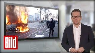 BILD UPDATE: EZB-Eröffnung in Frankfurt (Blockupy) - Randale, Verletzte und brennende Autos