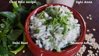 DAHI RICE RECIPE- DAHI BAAT RECIPE- CURD RICE RECIPE- MOSARANNA- YOGURT RICE- HOW TO MAKE CURD RICE.