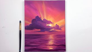 Sunset Acrylic Painting Tutorial Step by Step Easy | Sunset Acrylic Tutorial