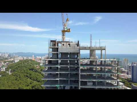 Drone Over-fly Waterfront Construction Project Pattaya