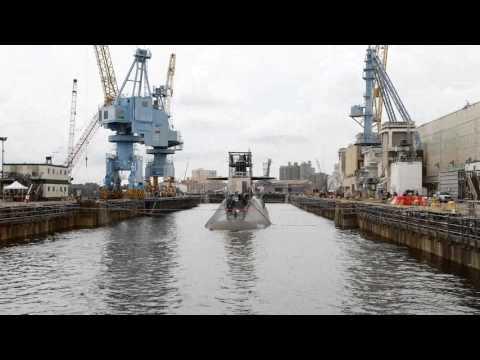 USS Rhode Island (SSBN 740) Time Lapse Undocking Two Days Early July 17