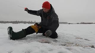 Зимняя рыбалка 2021 на реке в затоне Безмотылка балансир мормышка