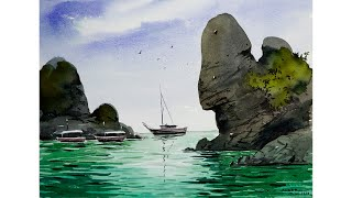 Easy seascape watercolor painting for beginners by sikander singh chandigarh india