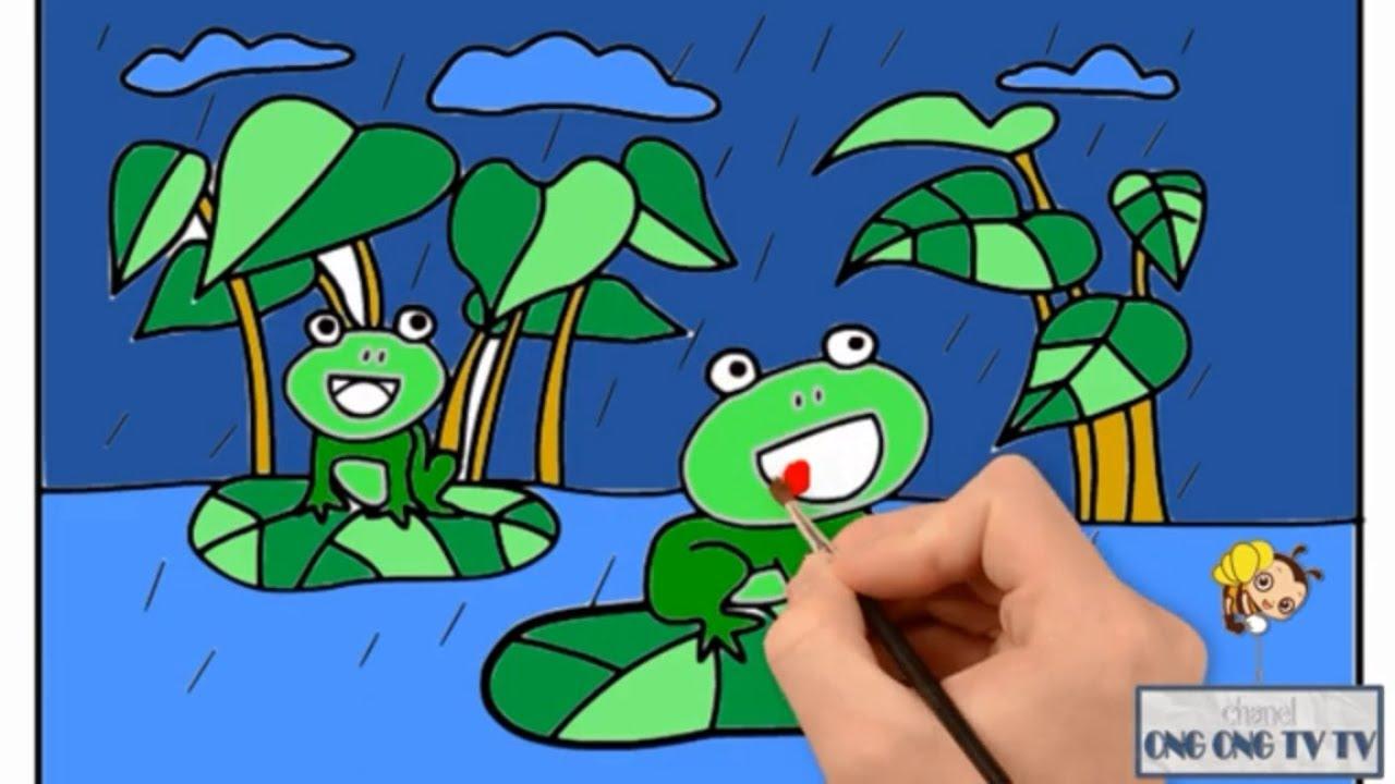 Nhạc thiếu nhi Chú ếch con – hướng dẫn vẽ và tô mà con ếch