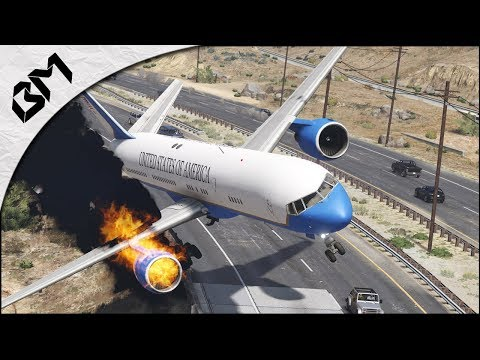 GTA 5 - AIR CRASH - EMERGENCY LANDING - Atterrissage sur l'autoroute - Flight Simulator