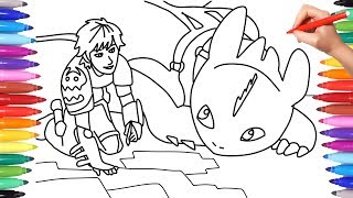 How To Train Your Dragon 3 The Hidden World Coloring Pages For Kids How To Draw Hiccup Toothless Youtube
